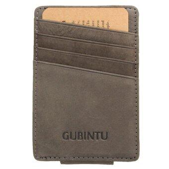 กระเป๋าสตางค์หนังแท้บางคนเงินน้อยถือบัตรบัตรเครดิตด้านหน้ากระเป๋าสีเทา