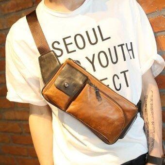 Osaka กระเป๋าหนัง PU แนวย้อนยุค คาดอก หรือคาดเอว รุ่น NE72 - สีกาแฟ
