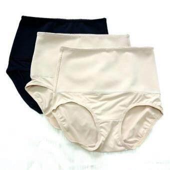 Miracle Bra กางเกงใน ลดพุง กระชับพุง (สีเนื้อ2+สีดำ1) - 3 ตัว