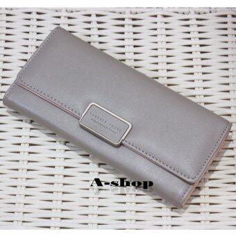 A-shop กระเป๋าเงิน กระเป๋าหนัง กระเป๋าสตางค์ สตรี ใบยาว สไตล์เกาหลี ForeverYoung-8M252Gray