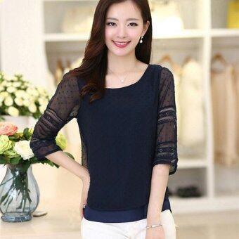 เสื้อแฟชั่นสตรีสไตล์เกาหลีปี 2559 ไซส์พิเศษเสื้อชีฟองแขนสั้นสูงสีขาวเย็บเสื้อเชิ้ต Blusas S-5XL