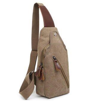 Open กระเป๋าสะพายไหล่ คาดอก กระเป๋าผ้า รุ่น023 (สีน้ำตาล)