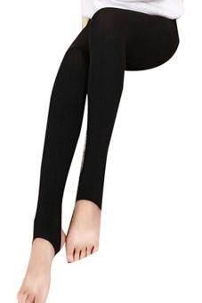 แฟชั่นถุงน่องรัดโคนถักหญ้าคากางเกงสกินนี่กางเกงวอร์มสีดำ