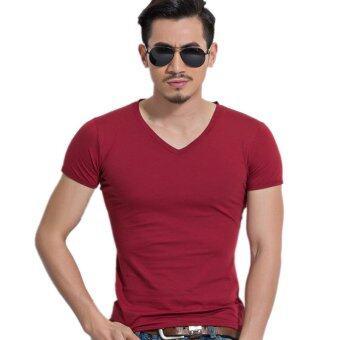 แฟชั่นผู้ชายแขนสั้นคอวีกล้ามเนื้อเพรียวทรงเสื้อเชิ้ตเสื้อยืดเสื้อออกกำลังกายกลมสีแดง