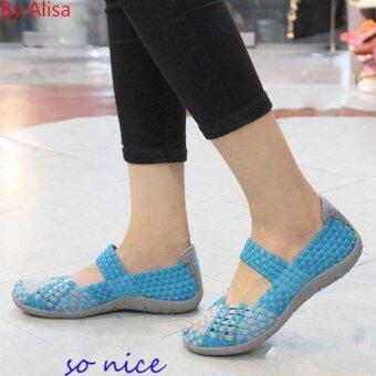 ALISA Shoes รองเท้าผ้าใบแฟชั่นผู้หญิง รุ่น F7104 Blue