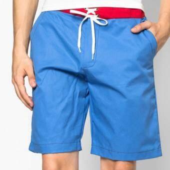 Play Hard กางเกงขาสั้น ลำลอง สีฟ้า ขอบแดง