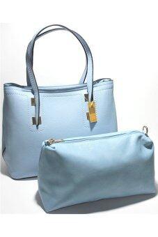 PhoeBe Bags กระเป๋าถือ กระเป๋าแฟชั่น พร้อมสายสะพาย รุ่น PU Leather Handbags 010+ กระเป๋าใส่เครื่องสำอางค์ (สีฟ้า )