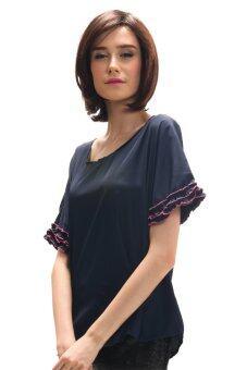 All about Fashionista เสื้อคอกลม ตัวกว้าง แต่งผ้าเย็บขอบย่นที่ปลายแขน - สีกรมท่า