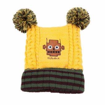 Passion Shop GZMM หมวกไหมพรมเด็กเกาหลี ลายหุ่นยนต์ สีเหลือง