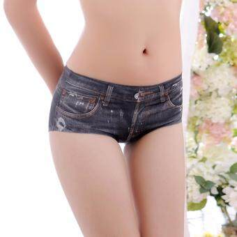 Chahom กางเกงชั้นในไร้ขอบ Jeans collection 3D ลายยีนส์ สีดำ