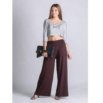 PBx - กางเกงเอวสูงขาบาน (สีน้ำตาล)