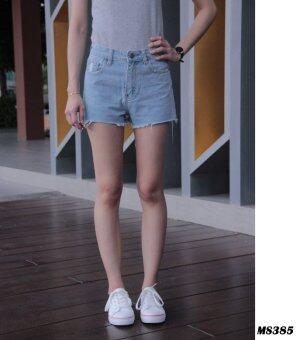 Platinum Fashion กางเกงยีนส์ขาสั้น เอวสูงปกติ แต่งขาดปลาย รุ่นMS385