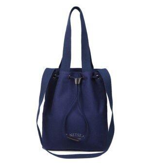 กระเป๋าผ้าแคนวาสแบบถือสะพายข้างแฟชั่นสตรีสีฟ้า