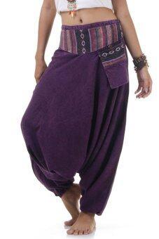 Princess of asia กางเกงแม้ว กางเกงผ้าต่อ ฮิปปี้ โบฮีเมียน (สีม่วง)
