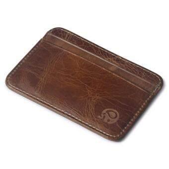 TOP CLASS กระเป๋าเงินหนังแท้ กระเป๋าสตางค์แบบบาง กระเป๋าใส่บัตรเครดิต Elephant 1554 - Brown