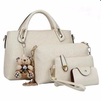 meet เซ็ต4ใบ กระเป๋าแฟชั่นเกาหลี+กระเป๋าสตางค์ผู้หญิง+กระเป๋าสะพายข้าง+พวงกุญแจหมี(สีขาว)sku035c