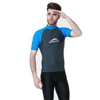 เสื้อแขนสั้นชายทหารผลีผลามโต้ยืดเสื้อยืดแจ็คเก็ตว่ายน้ำสีเทาอมฟ้า