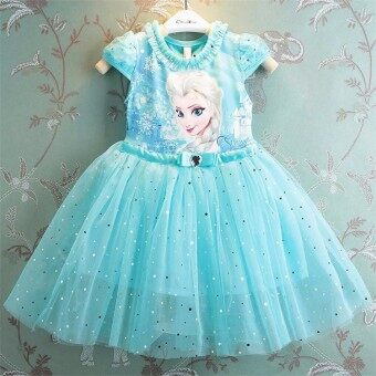 Harga Girl Dress Summer Brand Toddler Girls Clothes Lace Sequins Princess Dress (Blue)