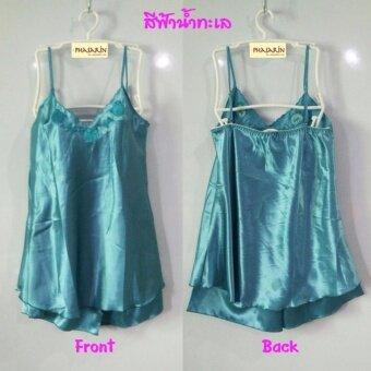 Phasarin ชุดนอนผ้าซาติน เสื้อสายเดี่ยว+กางเกงขาสั้น / สีฟ้าน้ำทะเล