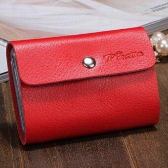 Korea-Paste กระเป๋าใส่บัตร 26 ช่องหนังแท้ รุ่น B012-26 (สีแดง)