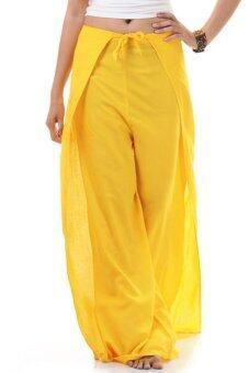 Princess of Asia กางเกงผ่าข้าง กางเกงแบบผูก กางเกงพัน (สีเหลือง)