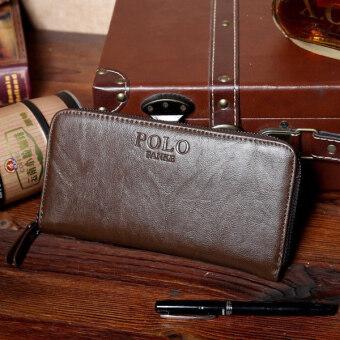 MATTEO กระเป๋าใส่เช็ค กระเป๋าเงินใบยาว ซิปรอบ รุ่น POLO FANKE (สีน้ำตาล)