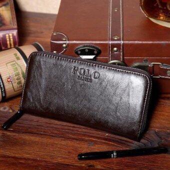 MATTEO กระเป๋าใส่เช็ค กระเป๋าเงินใบยาว ซิปรอบ รุ่น POLO FANKE (สีกาแฟ)