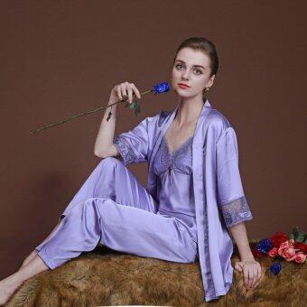PlusSlim ชุดนอน เสื้อ+กางเกง+เสื้อคลุม 3 ชิ้น (สีม่วง)
