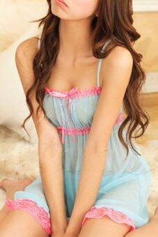 จัดส่งฟรีชุดชั้นในลูกไม้ยืดหยุ่นสบายร้อนหญิงสาวสวมเสื้อคลุมชุดนอนชุดนอนชุดนอน+จีสตริงแต่งตัว