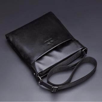 HINS KANGAROO กระเป๋าสะพายข้างผู้ชาย No.6690-2 หนังเรียบ (สีดำ)