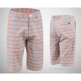EXCEED กางเกงกอล์ฟขาสั้น KUZ010 #5 สีเทาเส้นส้ม PGM Men's Golf Short Gentleman Plaid Quick Dry Sport Trousers Summer Breathable Short XXS-3XL GREY-ORANGE COLOUR