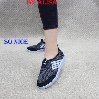 Alisa Shoes รองเท้าผ้าใบแฟชั่น รุ่น 99Q010 Black