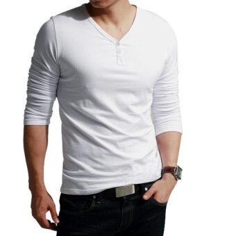 ไซเบอร์คอวีแขนเสื้อชายยาวลำลองเสื้อยืดเสื้อ (ขาว)