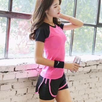 Dolly ชุดออกกำลังกาย ชุดวิ่ง 2ชิ้น เสื้อแขนสั้น(792) + กางเกงขาสั้น(901) สีชมพู