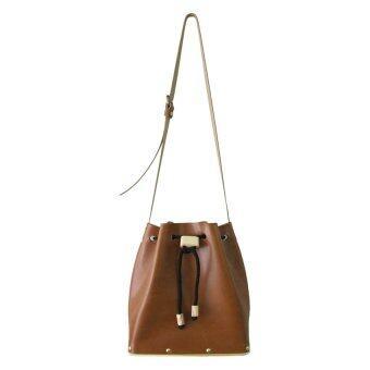 Omni กระเป๋าหนัง ฐานไม้ Drawstring wooden bag - สีน้ำตาล