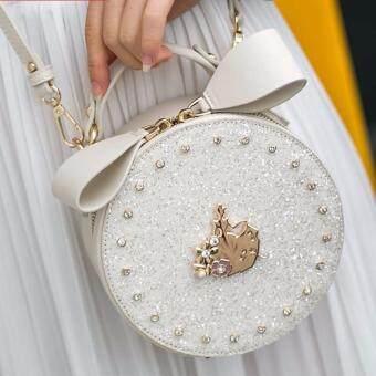 AXIXI กระเป๋าแฟชั่นทรงกลมหญิง รุ่น Princess Diamond สีขาว