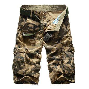 แฟชั่นผ้าฝ้ายลายพรางของทหาร 2559 ทรงกระเป๋ากางเกงหลวมมาก (กากี)