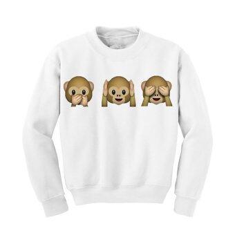 ลิงน่ารัก Hequ เหงื่อเสื้อไหมพรมเสื้อกันหนาวแบบสวมฮู้ดธรรมดาสตรีเสื้อเสื้อฮู้ด (ขาว)
