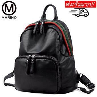 Marino กระเป๋าเป้สะพายหลัง กระเป๋าเป้หนัง กระเป๋าสไตล์เกาหลี No.0236 - Black