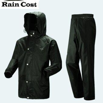 ชุดกันฝน มีแถบสะท้อนแสง เสื้อ+กางเกง+กระเป๋า ขนาดฟรีไซส์ (สีดำ)