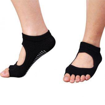 5คนชายห้องออกกำลังกายโยคะนิ้วลื่นยางพื้นรองเท้ากีฬาถุงเท้ารำเท้าข้างถุงเท้าสีดำ