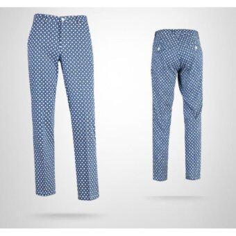 EXCEED กางเกงกอล์ฟผู้ชายขายาว สีน้ำเงิน (KUZ015) PGM Men's Golf PANTS Gentleman Plaid Quick Dry Sport Trousers Summer Breathable Short XXS-3XL NAVY BLUE COLOUR