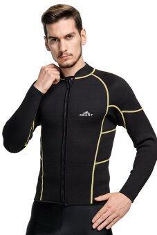 คน 3มมแขนเสื้อยาวเทียมสนอร์เกิลอุ่นคนดำน้ำลึกดำน้ำชุดว่ายน้ำฤดูน้ำชุ่มสูท-สีดำ