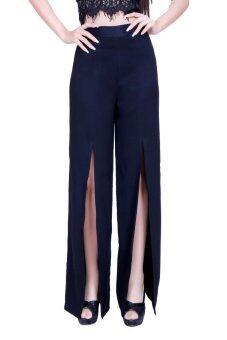 Saza กางเกงขาบาน เอวสูง ผ่าหน้า VM001 (สีดำ)
