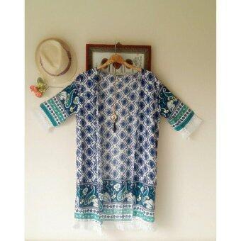 Panicha By mama เสื้อคลุมแฟชั่น คาร์ดิแกนตัวยาว แขนแต่งด้วยภู่ ลายดอก สีน้ำเงิน ผ้าสปันบอน ผ้านิ่มใส่สบาย รุ่น MM-066
