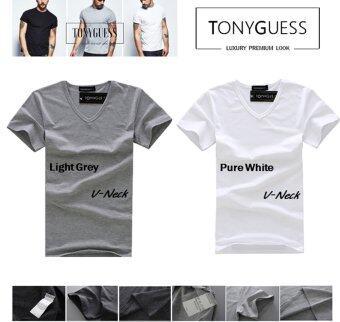 TONYGUESS T-Shirt เซ็ต 2 ตัว (Cotton+Spandex) เสื้อยืดแฟชั่นชาย สีดิบโคตรเท่ห์ (สีขาว&เทาอ่อน คอวี)