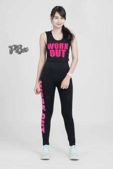 ชุดออกกำลังกาย โยคะ เสื้อ+ กางเกง Workout สีชมพู ขนาดฟรีไซส์