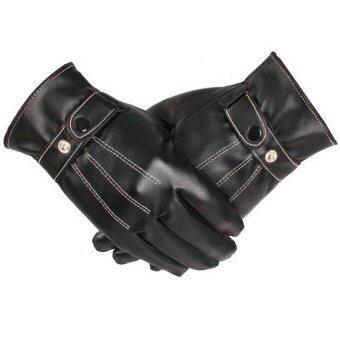 คนคลาสสิคสีดำหนังหน้าจอสัมผัสหนาวถุงมือถุงมือกลางแจ้ง