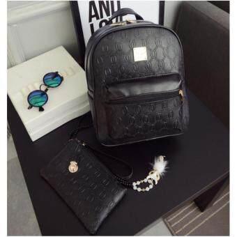 Premium Bag กระเป๋าเป้สะพายหลัง กระเป๋าเป้เกาหลี รุ่น PB015 แถม กระเป๋าสตางค์แบบคล้องแขน (สีดำ)