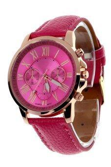 นิวแฟชั่นสตรีเลขโรมันคล้ายคลึงผลึกนาฬิกาข้อมือหนังเทียมร้อนสีชมพู